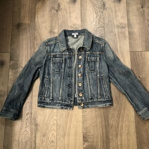 Express Cropped Distressed Jean Jacket